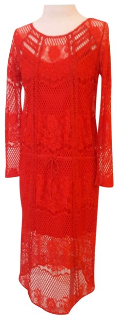 Item - Tomato Red Lace Long Cocktail Dress Size 6 (S)
