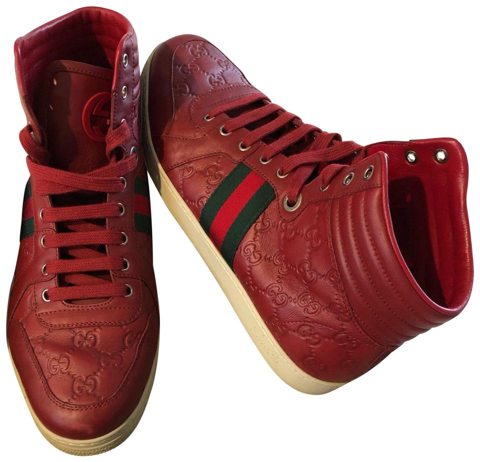 da89ad2258af1 Gucci Red Men s Leather Rose Web Gg Coda High Top Sneakers Sneakers ...