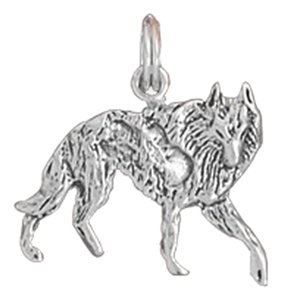 unknown Sterling Silver Oxidized Wolf Charm