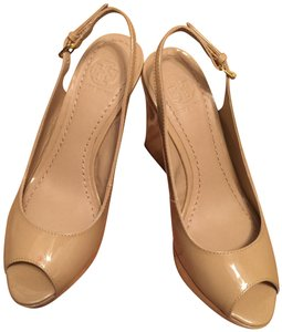Tory Burch Leather Slingback Wedge Nude Platforms