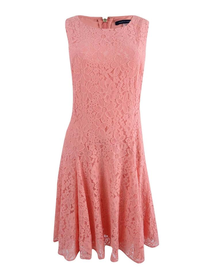 Tommy Hilfiger Orange Womens Lace Fit   Flare Party Mid-length ... e602b3ce8