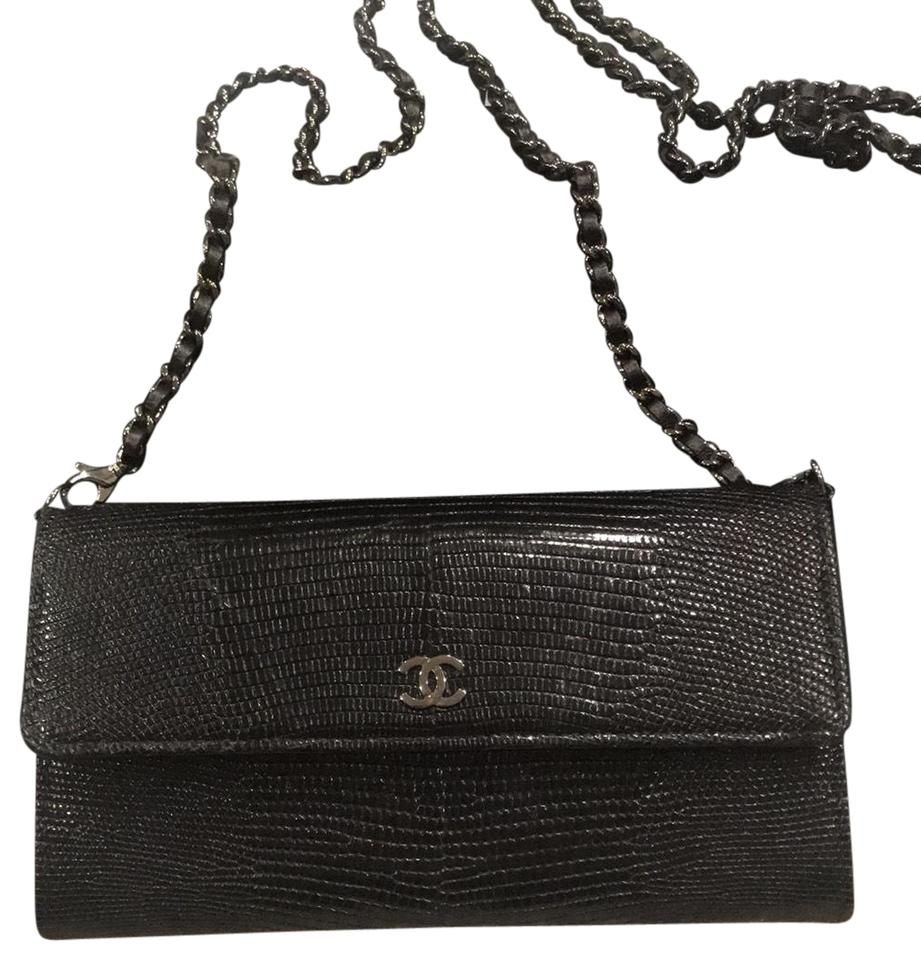 74c857db6c98 Chanel Black Lizard Wallet on Chain Wallet - Tradesy