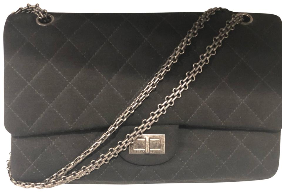 d08e80ca817315 Chanel 2.55 Reissue Quilted Black Jersey Shoulder Bag - Tradesy