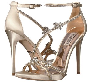 9b0e3c64ae5 Badgley Mischka Rhinestone Crystal Strappy Sandals Ivory Formal