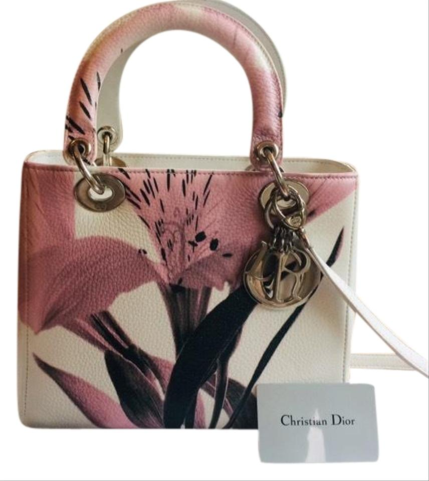 cbb755cf69 Dior Lady Floral Limited Edition White Pink Deerskin Leather Tote ...