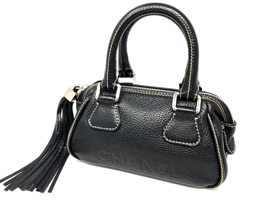 66e8484df803 Chanel Small Pebbled with Tassel Silver Cc Cube Detail Black Leather ...