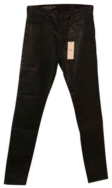Item - Black Coated Farrah Sateen High-rise Ankle Skinny Jeans Size 4 (S, 27)