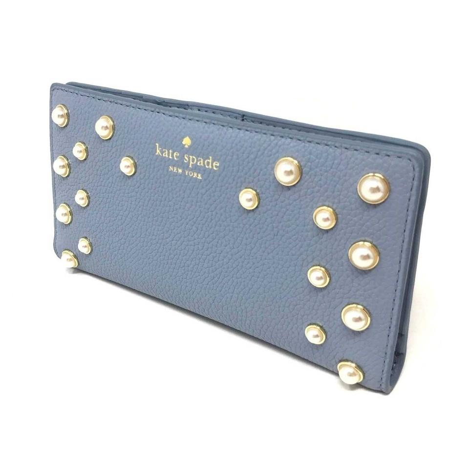 9f13ec3acde4 Kate Spade Cloud Cover Blue Stacy Serrano Place Pearl Leather Wallet 52%  off retail