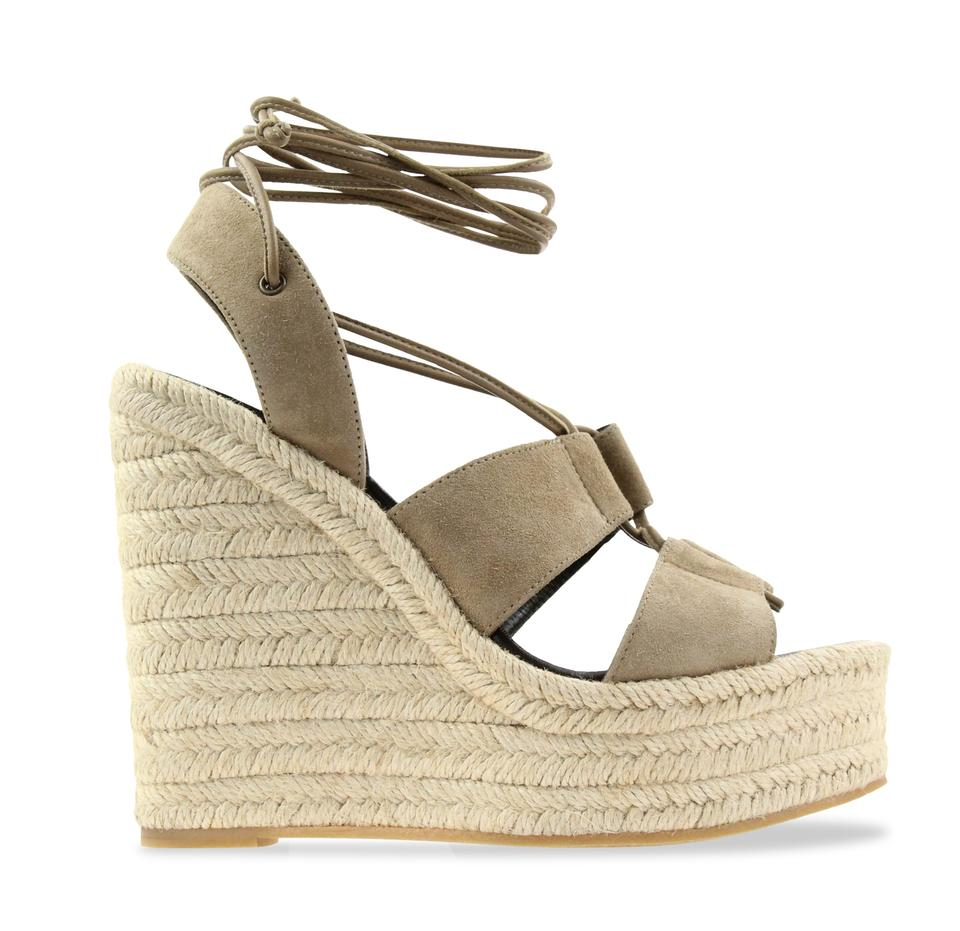 77e89f84e33 Saint Laurent Beige Suede Leather Lace-up Espadrille Sandals. Size  EU ...