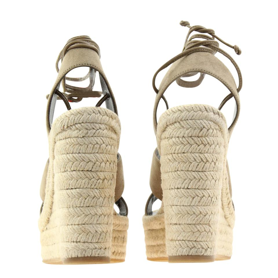 e67dccbbb16 Saint Laurent Beige Suede Leather Lace-up Espadrille Sandals Size EU 36.5  (Approx. US 6.5) Regular (M