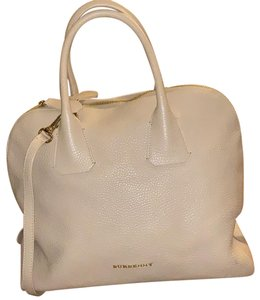 Burberry Leather Grainy Bowling Satchel in nude, beige