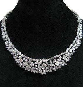 custom NATURAL 18KT Multi Shape Diamond Tennis Graduated Necklace WG Riveria