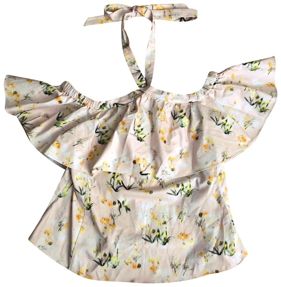 dd88597e01c96 Rebecca Taylor Yellow White Pink Firefly Floral Cold Shoulder Blouse ...