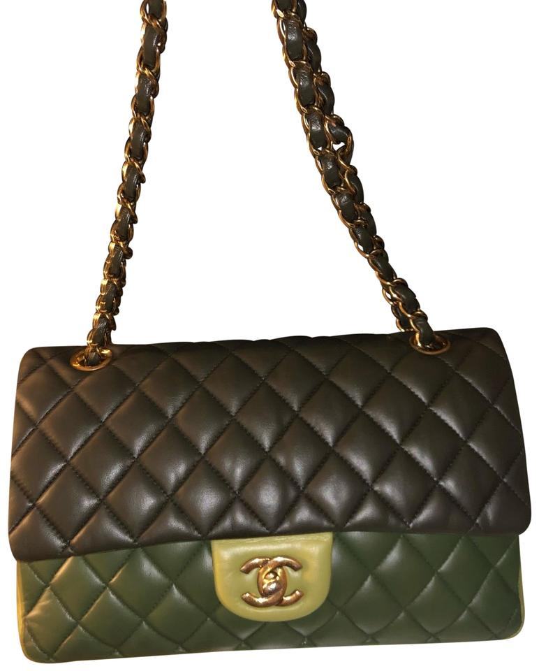 095ae190b1d5a7 Chanel Double Flap Tricolor Green Lambskin Leather Shoulder Bag ...