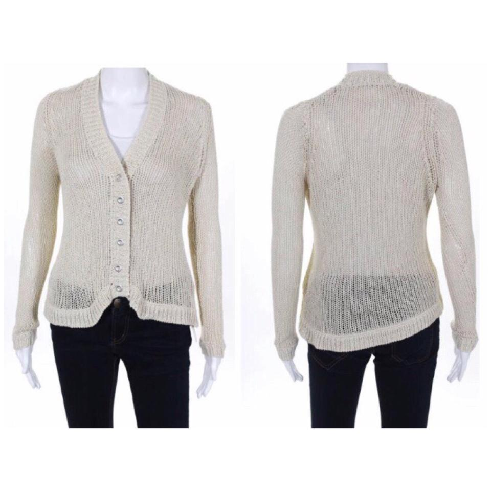 53aef9ab1cb5b0 Twelfth St. by Cynthia Vincent Cream and Silver Open Knit Cardigan ...