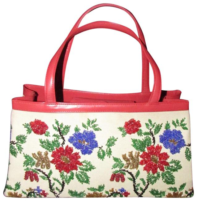 Item - Nwot Collection True Red Leather with A Hand Beaded Floral Design On Canvas Glass Beads Satchel