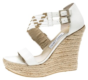 Jimmy Choo Leather Crisscross Strap White Sandals