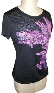 Express Tattoo New With Tags Fitted Cap Sleeve Gypsy T Shirt Black