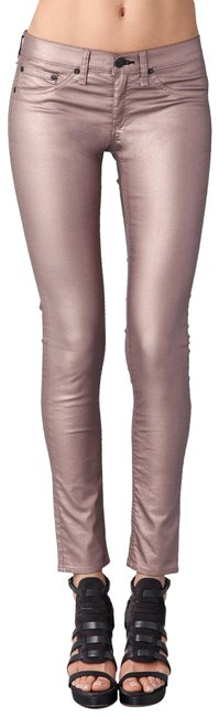 Item - Pink Coated Rose Metallic Legging Skinny Jeans Size 30 (6, M)