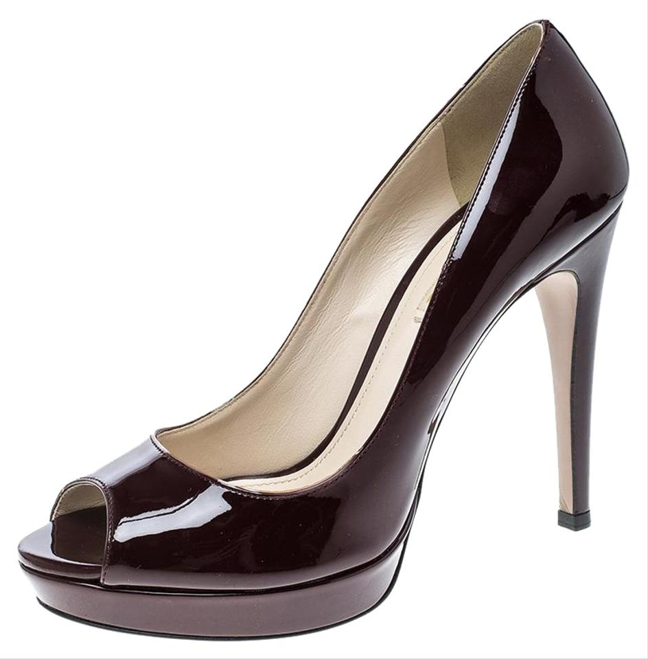 c0cc447e99e Prada Burgundy Patent Leather Peep Toe Platform Pumps. Size  EU 39 (Approx.