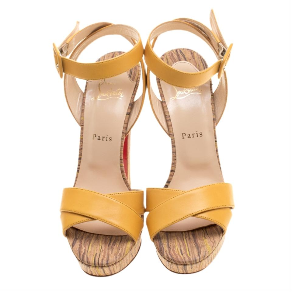 88b08a0ee8f Christian Louboutin Leather Crisscross Strap Yellow Sandals Image 7.  12345678