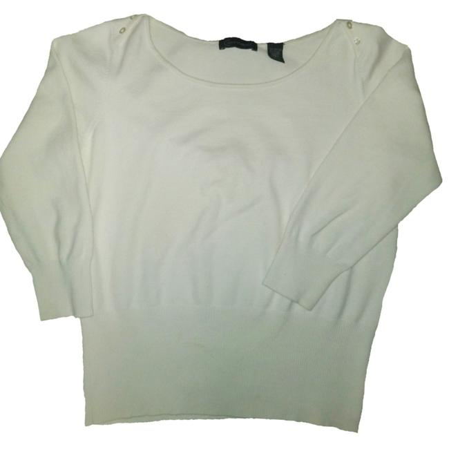 Item - Price Drop By Lord Taylor Button Shoulder 3/4 Sleeve Cream Sweater