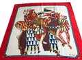 Gucci Gucci 100% Silk Square Scarf Knights with Horse Image 0