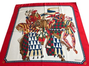 Gucci Gucci 100% Silk Square Scarf Knights with Horse