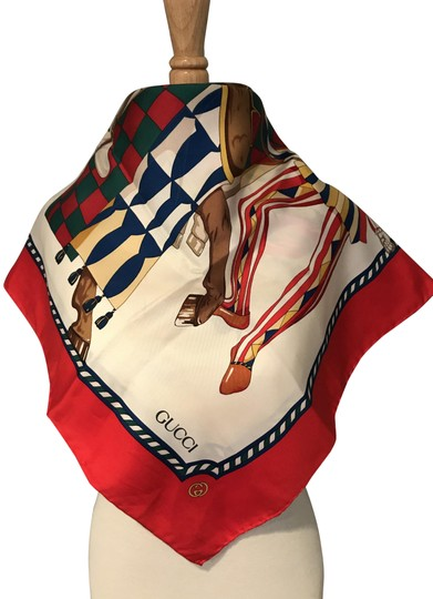 Gucci Gucci 100% Silk Square Scarf Knights with Horse Image 4