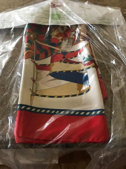 Gucci Gucci 100% Silk Square Scarf Knights with Horse Image 9