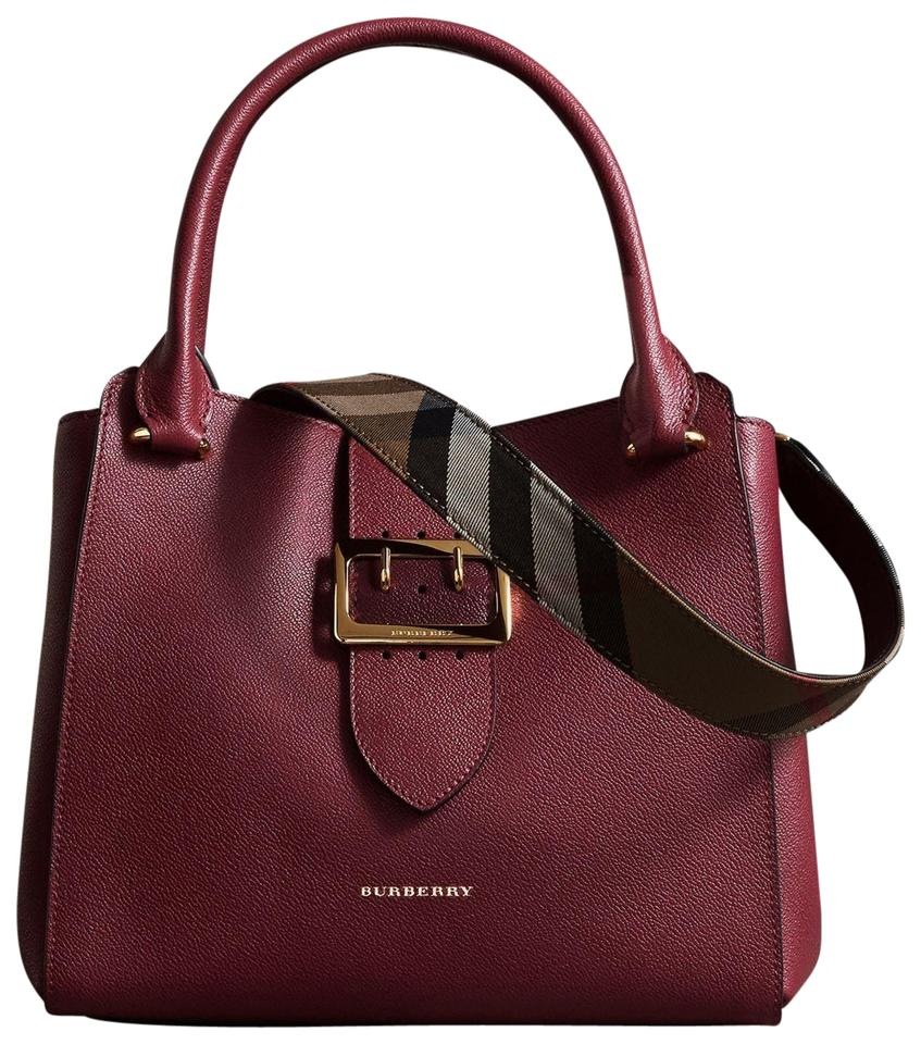 1c37a9958605 Burberry New Medium Grainy Buckle Tote Plum Lambskin Leather Satchel ...