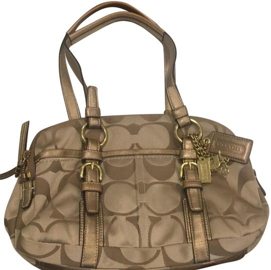 Preload https://img-static.tradesy.com/item/24716378/coach-signature-c-gold-nylon-material-with-leather-satchel-0-1-540-540.jpg