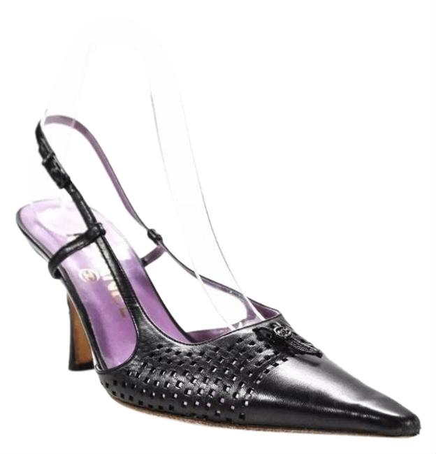 Item - Black Perforated Pointed Toe Slingbacks/ Formal Shoes Size EU 36.5 (Approx. US 6.5) Regular (M, B)