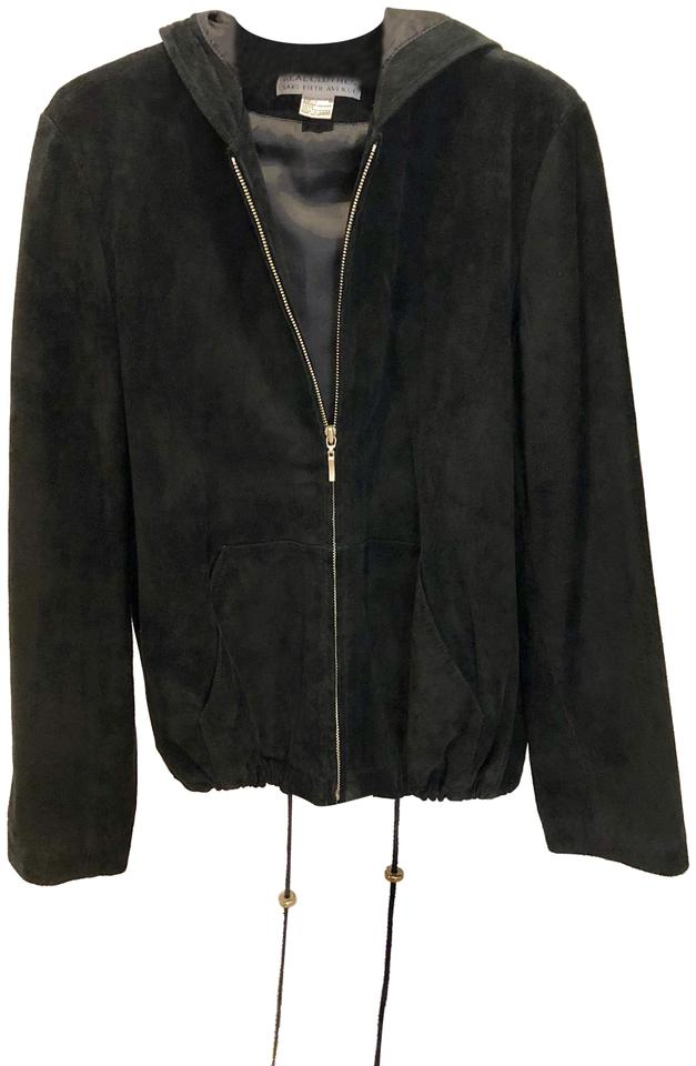 888a4108a7bc Saks Fifth Avenue Black Genuine Suede Short Jacket Size 12 (L) - Tradesy