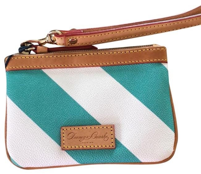 Item - And White/Turquoise Green Saffiano Leather/Genuine Leather Trim Wristlet