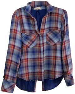 Cloth & Stone Anthropologie Roll Over Sleeve Checkered Button Down Shirt plaid