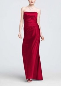 David's Bridal Apple Satin Strapless Ruched Ball Gown Style F13974 Formal Bridesmaid/Mob Dress Size 6 (S)