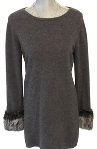Chelsea & Theodore Cashmere Sweater Faux Fur Fitted Dress
