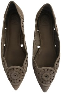 Tory Burch Suede Laser Cut Pointy Toe River Rock Flats