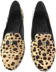 Tory Burch Loafer Animal Print Smoking Slipper Calf Hair Flats