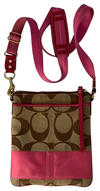 Item - Brown and Pink Canvas Cross Body Bag