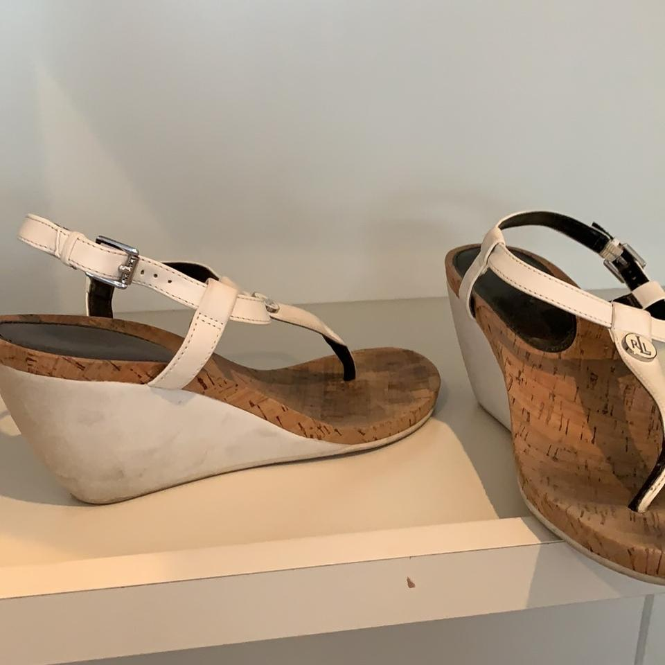 c0db340b95b Lauren Ralph Lauren White Cork Wedge Sandals Size US 10 Regular (M ...