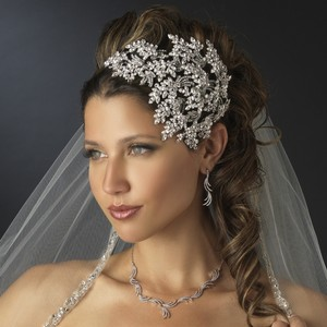 Elegance By Carbonneau Stunning Silver Wedding Side Headband - Special