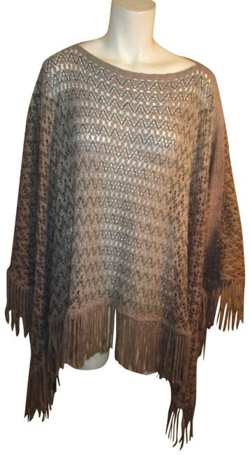 Item - Gray Ombre Fringed Poncho/Cape Size OS (one size)