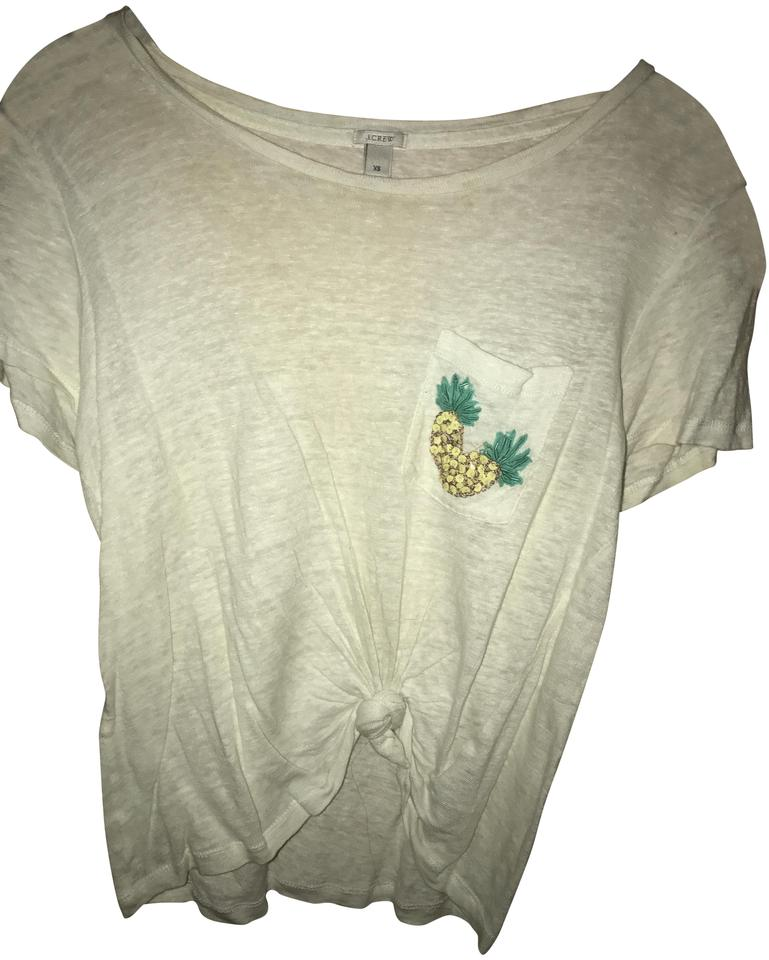a22a5f6d J.Crew White Sequin Pineapple Tee Shirt Size 2 (XS) - Tradesy