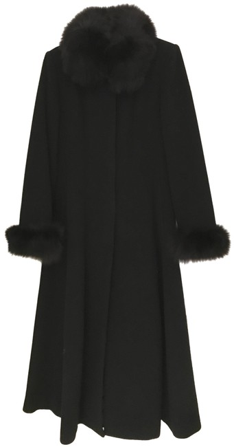 Item - Black Long Wool/ Cashmere Collar/Wrists (6) Coat Size 6 (S)