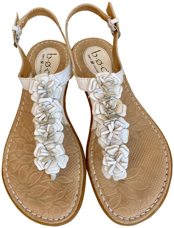 Brn White Boc Canberra Leather With Flowers Sandals Size Us 8