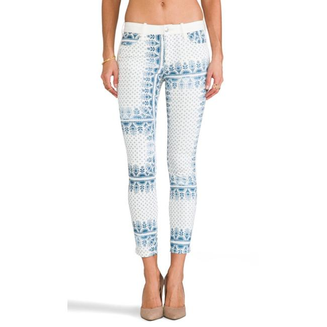 Item - Light Wash Ankle Blocked Scarf Print Skinny Jeans Size 26 (2, XS)