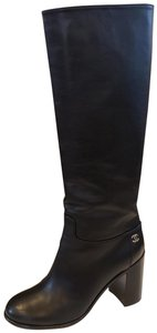 Chanel Cc Knee High Black Boots