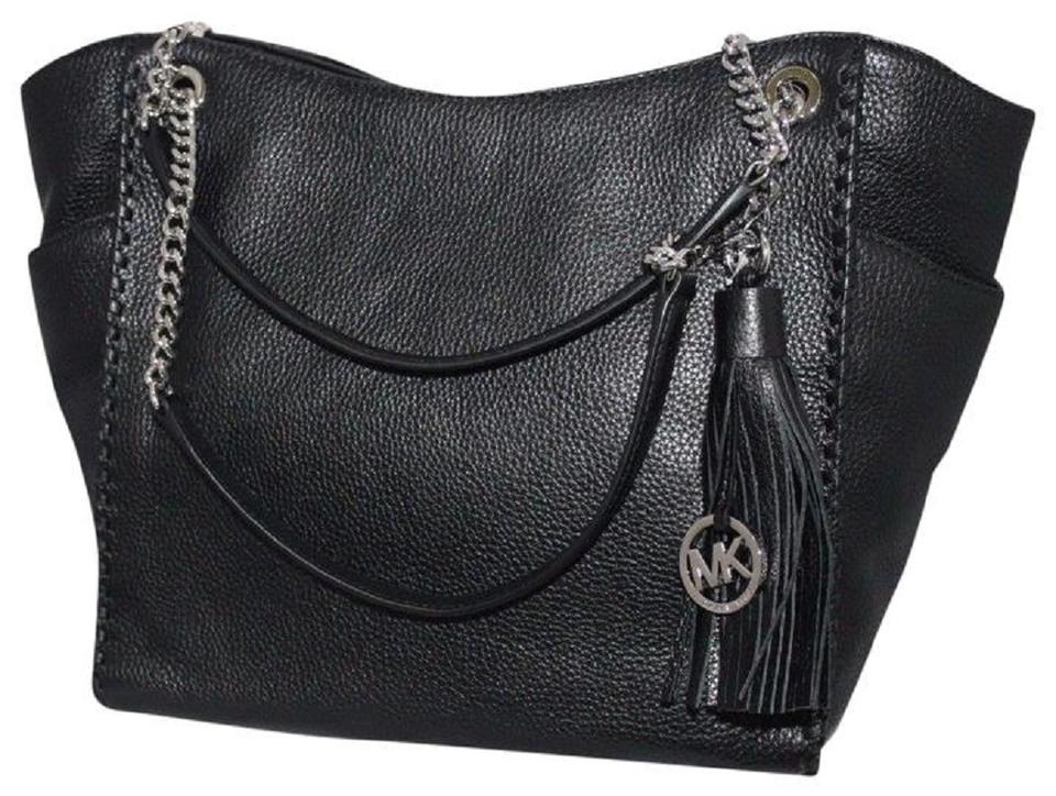 5027bdc9018b Michael Kors Shoulder Bag Chelsea Large Whipped Braided Silver Black ...